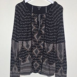 LUCKY BRAND Charcoal Gray Print Top Size XL